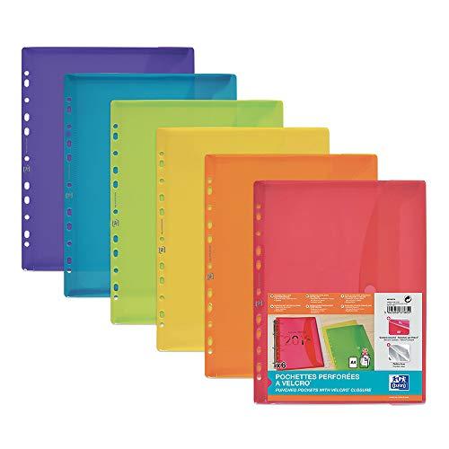 Oxford Dokumenten-Mappen A4, Taschen mit Klett-Verschluss, zum Abheften, sortiert, 6er Pack