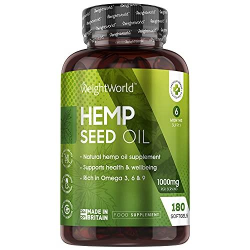 Hemp Seed Oil - Olio di Canapa da 1000mg - 180 Capsule Softgel (6 Mesi di Fornitura) - Fornisce Acidi Grassi Omega 3 6 9 - Softgel in Semi di Canapa da Spremitura a Freddo - Senza Glutine e Lattosio