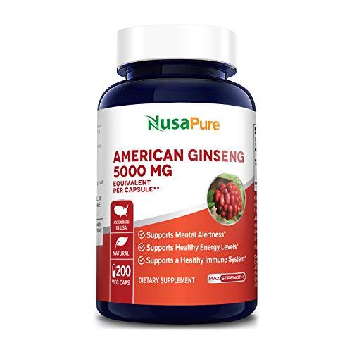 American Ginseng 5000 mg - 200 Veggie Capsules (Vegetarian, Non-GMO & Gluten-Free)