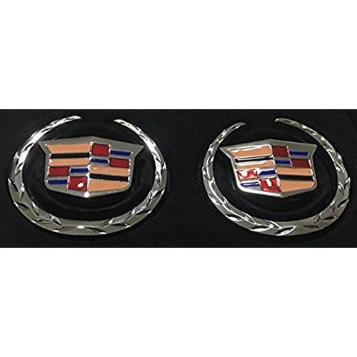 CHROME!! Cadillac WREATH /& CREST Emblems! PAIR!