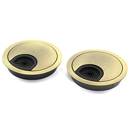 HJ Garden 2pcs 2-3/8 inch (60mm) Metal Desk Grommets for Managing and Hiding Wire Cord Cable Hole Cover Office PC Desk Cable Cord Organizer Zinc Alloy Cover Bronze
