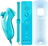 Lyyes Wii Controller with Motion Plus Wii Motion Remote with Nunchuck for Wii Wii U (Blue)