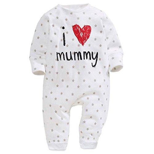 Doubleer Baby Strampler,Doubleer Kleinkind Jungen Mädchen Langarm-Overall I Love Dad Mom Pyjamas