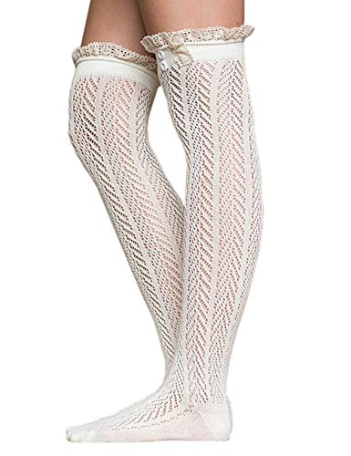 ShiyiUP Trachtensocken Kniestrümpfe Oktoberfest Strümpfe mit Zopfmuster Stiefel Hohe Socken Dirndlstrümpfe,Weiß