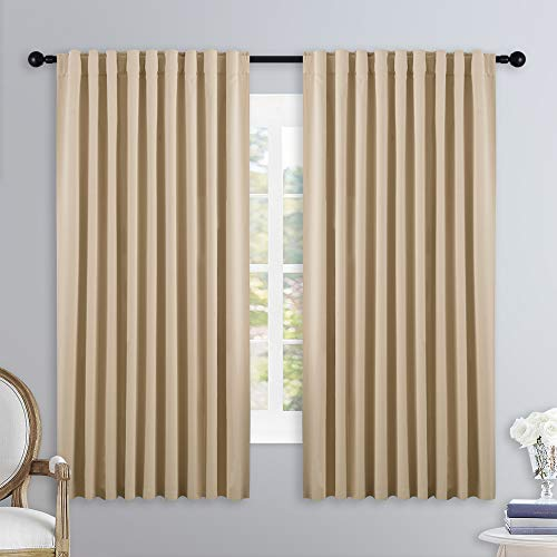 NICETOWN Window Treatment Elegant Curtains - (Biscotti Beige Color) 70 Width X 63 Length, 1 Pair, Curtains and Drapes for Bedroom