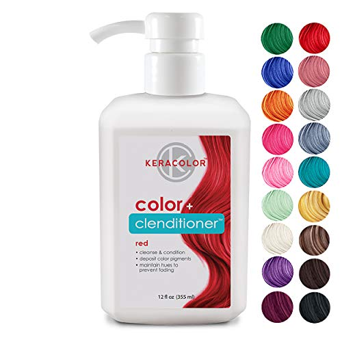 Keracolor Clenditioner Color Depositing Conditioner - Hair Glaze Colorwash, Red, 12 Fl Oz