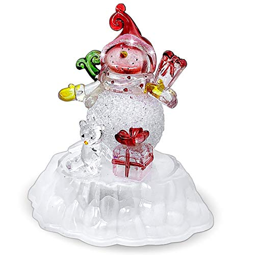 BANBERRY DESIGNS Snowman Christmas Decoration - Color Changing LED Acrylic Winter Snowman Figurine - Tabletop Snowman Decor - Battery Operated