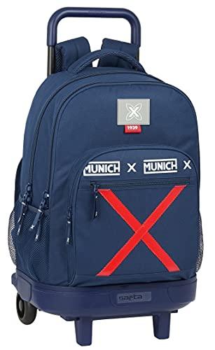 Safta Mochila Escolar con Carro Incluido y Espalda Acolchada de Munich Spike, 330x220x450 mm, Azul Marino
