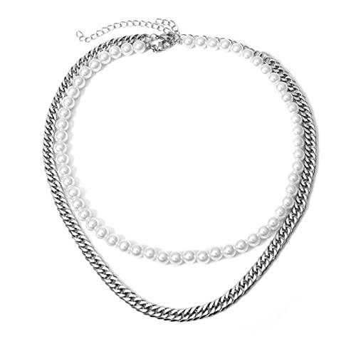 SONGK Collar Gargantilla de Cadenas de Acero Inoxidable de 2 uds para Mujeres y Hombres, Collar de Cadena de Perlas, Collar de Cuello Rosa Minimalista, Encanto de joyería