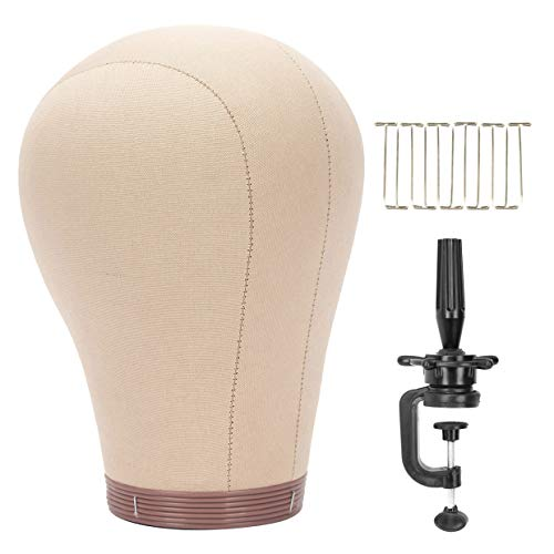 "BHD BEAUTY Cork Canvas Block Mannequin Head Wig Display Styling With Mount Hole 22"" (Canvas Head+Head Stand+T Pins)"