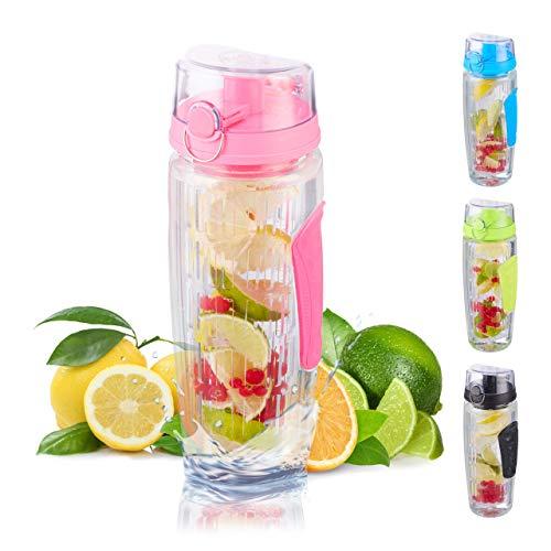 Relaxdays Trinkflasche mit Obsteinsatz, BPA-frei, auslaufsicher, 900ml, Detox Flasche Infused Water, mit Tasche, pink