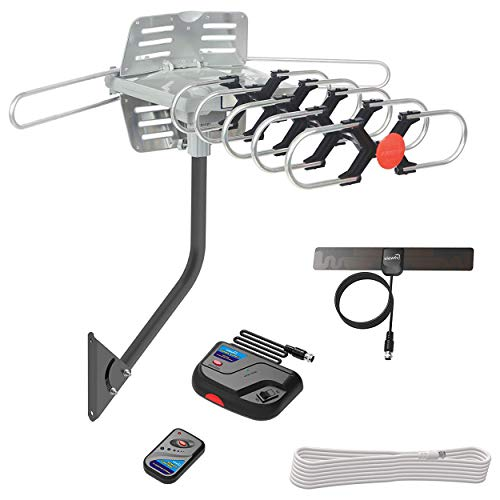 ViewTV Outdoor Antenna Digital Amplified HDTV Antenna Motorized 360 Degree Rotation Wireless Remote 1080p 4K Ready up to 150 Miles Range with Mounting Pole, 40 ft Coax Cable, Mini Indoor TV Antenna