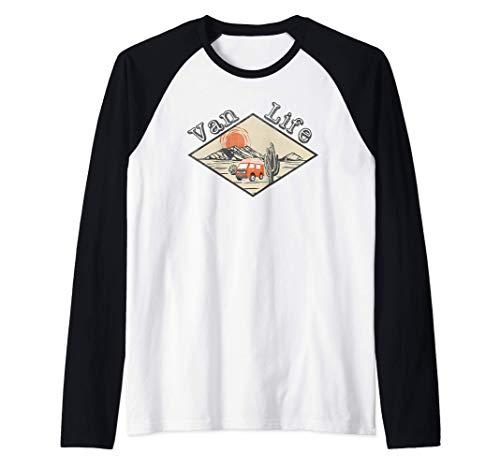 Cool Van Life Autocaravana apenado Vintage Retro Vanlife Camiseta Manga Raglan