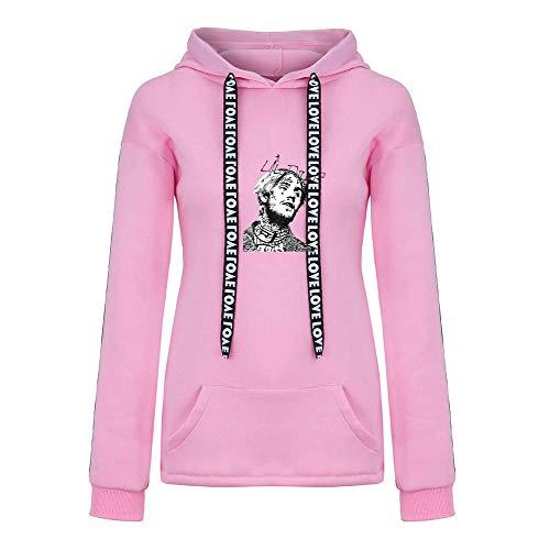 Dooljhjyr Lil PEEP Pullover Mit Kapuze Vogue Pullover Lose Sweatshirt Langarm Sportswear Freizeit Tops Unisex (Color : Pink04, Size : XXL)