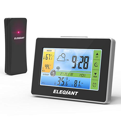 ELEGIANT Wireless Weather Station, Indoor Outdoor Thermometer Hygrometer with Sensor, LCD Color Screen, Digital Temperature Humidity Monitor, Weather Forecast, Alarm Clock, Adjustable Brightness