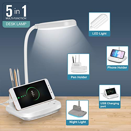 LED Desk Lamp, NovoLido Rechargeable Desk Lamp with USB Charging Port & Pen Holder, 3 Color Modes & Night Light & Stepless Dimming, Flexible/Portable/Eye-Caring Lamp for Dorm Bedroom Reading, White