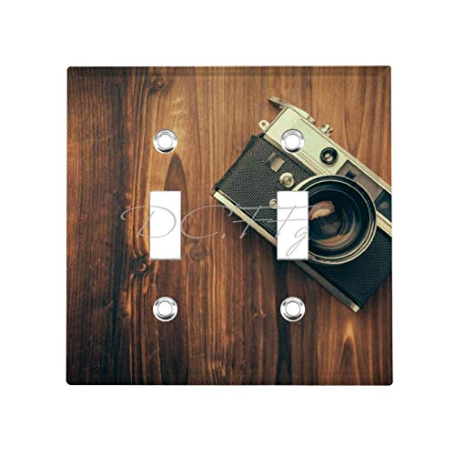 2 Gang Wall Plate Cover Decorator Wall Switch Light Plate Double Toggle Switch Retro Camera Photography Vintage Men's Classic Beadboard Unbreakable Faceplate