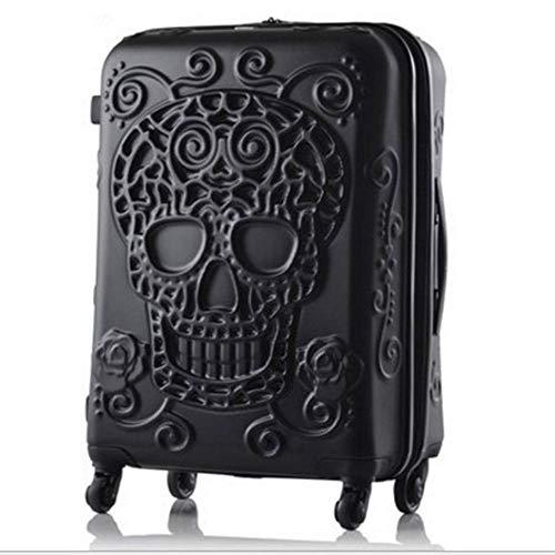 HRUIIOIH Personalisierter Reise-Trolley-Kasten, Harter Shell-Trolley-Kasten-Abs-drehender Felgen-Koffer passend für Geschäftsreise,Black,39.1 * 27.4 * 54.6cm