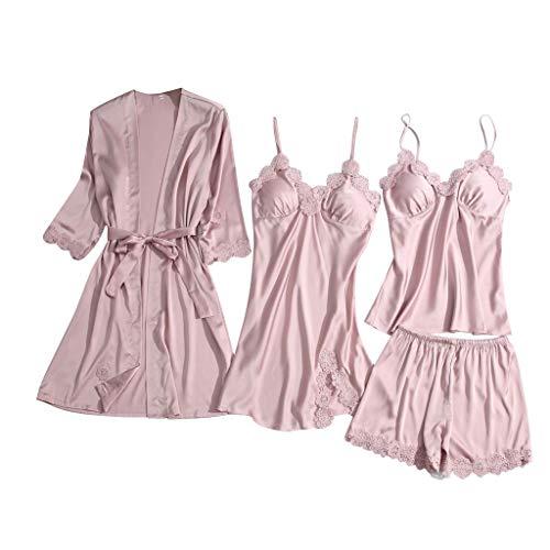 Reooly señoras Encaje satén inalámbrico Sujetador Camisola Pantalones Cortos Pijamas camisón Ropa Interior(G-Rosado,S)