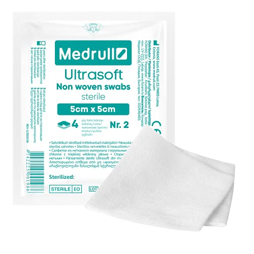 Medrull Sterile Kompressen nicht gewebt - ULTRASOFT 40 Stück (20x 2 Stück), 4-lagig 5cm x 5cm – Saugkompressen, Verbandsmaterial, Mullbinden, Wundkompressen
