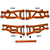 Hobbypark Front & Rear Aluminum Suspension A-Arms Set & Tie Bar for 1/10 Traxxas Slash 2WD RC Car Upgrade Parts Hop Ups, Replace 2555 3631 2532, Orange-Anodized