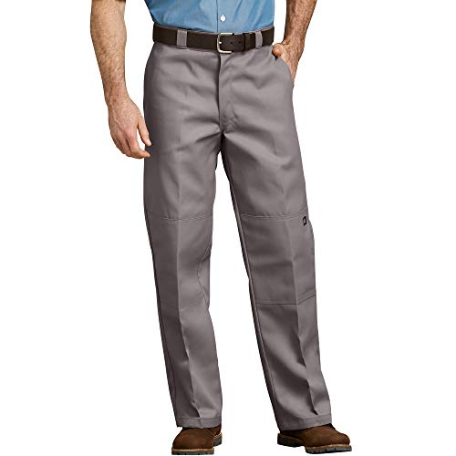 Dickies Men's Loose Fit Double Knee Twill Work Pant, Silver Gray, 40W x 30L
