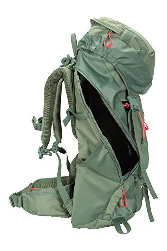Mountain Warehouse Carrion 65-l-Rucksack - weicher Reiserucksack, atmungsaktiv, gepolstert, Airmesh-Material, verstellbar, Leitersicherung Hellgrün Frauenpassform