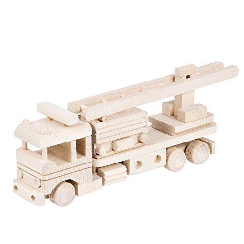 BARTU Holz Feuerwehr Auto Leiter Decopage Holzauto Holzspielzeug