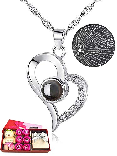 I Love You Necklace 100 Languages Gift Set | Nano Jewelry Projection Necklace | Romantic Gifts for Her (Heart - Silver)