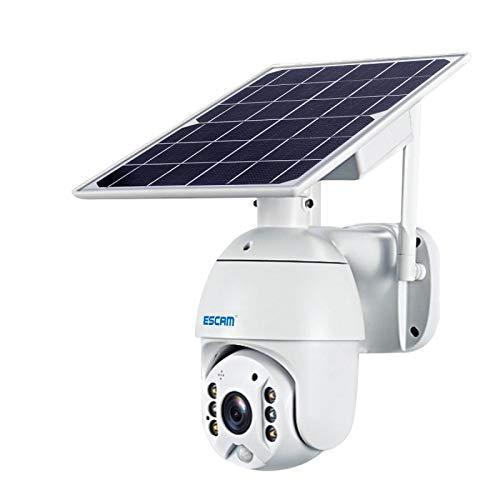 A+Xu Jie XJ QF480 US versión HD 1080P IP66 impermeable 4G panel solar PT IP cámara sin batería, soporte visión nocturna/detección de movimiento/tarjeta TF / audio de dos vías (blanco)