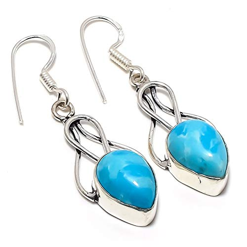Blue Dyed LARIMAR! Girls EARRING 1.75' Long, Top On TRENDING! Silver Plated, HANDMADE Art Jewelry! Best Variety Store