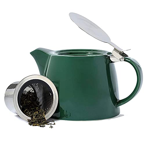 VAHDAM Porcelain Teapot - Dark Green (500 ml/ 16.9 oz) - Handcrafted Teapot with 18/8 Stainless Steel Lid and Extra-Fine Infuser To Brew Loose Leaf Tea | Beautiful Tea Kettle with Infuser