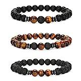 Senteria 3-6 Pièces 8mm Bracelet de Perles pour Hommes Femmes Bracelet en Pierre Naturelle Mala Agate Yoga Elatics Bracelet Oeil de Tigre Bracelet pour Hommes