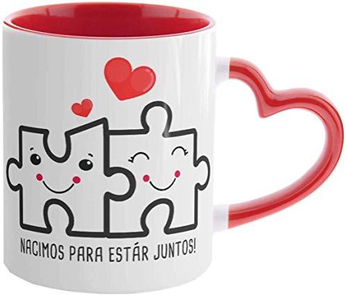Kembilove Tazas de Desayuno para Parejas – Taza Roja con Asa de Corazón con Mensaje Nacimos para estar juntos – Regalos Originales para Regalar en San Valentín, Cumpleaños – Tazas de 350 ml