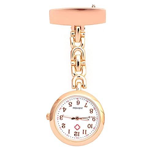 YYMY Reloj de Bolsillo con Colgante,Enfermeras de Moda Noche Seno Pecho Doctor aleación de Cuarzo-Oro Rosa 3