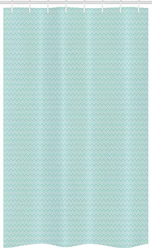 ABAKUHAUS Winkel Schmaler Duschvorhang, Pastell Einfache Art Zigzags, Badezimmer Deko Set aus Stoff mit Haken, 120 x 180 cm, Pale Seafoam & Mint Green