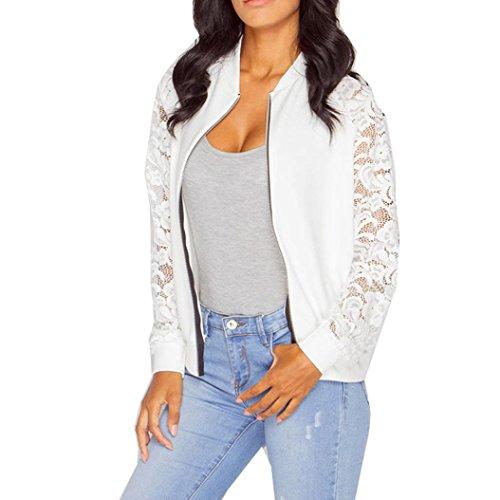 VEMOW Herbst Cool Elegant Damen Langarm Lace Blazer Anzug Lässige Tägliche Outdoors Sport Mode Jacke Mantel Outwear(Weiß, 42 DE/XXL CN)