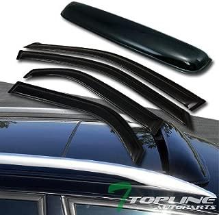 Topline Autopart Smoke Window Deflector Vent Shade Guard + Sunroof Moonroof Sun Moon Roof Visors 5 Pieces For 01-06 Acura MDX