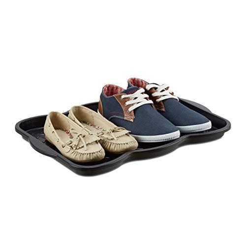 Relaxdays Schuhabtropfschale klein, Kunststoff Schuhablage f. 4 Schuhe, Profil Schmutzfang HBT: 3 x 50 x 38 cm, schwarz