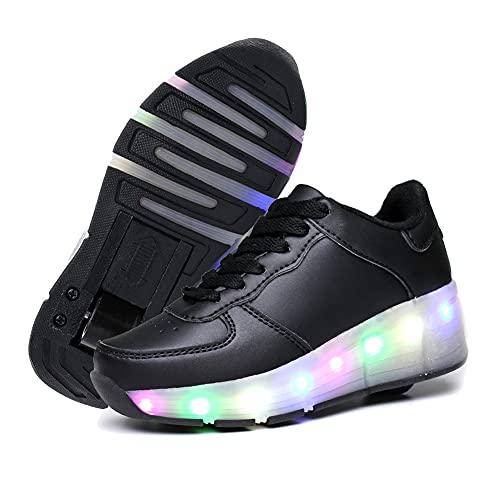 GGBLCS LED Luces Zapatillas con Ruedas para Niños Niña 7 Colores Luminosas Flash Zapatos de Rueda Patines Deportivo Zapatos de Skateboard