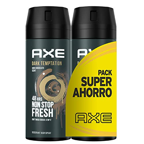 Axe - Pack Ahorro Desodorante bodyspray Dark Temptation 2 x 150 ml con tecnología Dual Action