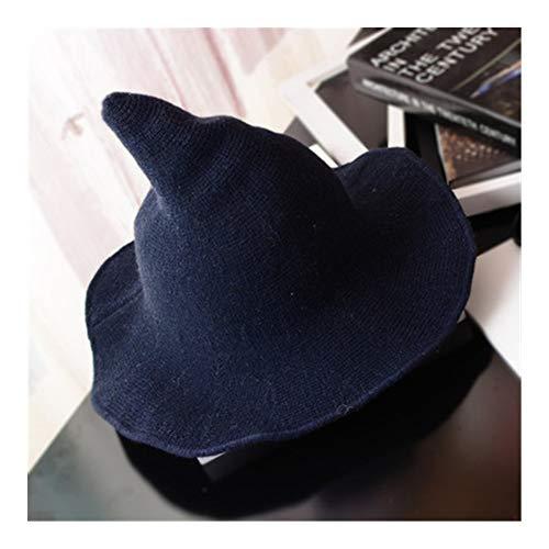 WEIZI Sombrero de bruja de Halloween para hombres y mujeres, sombrero de punto de lana de moda sólido sombrero diversificado a lo largo del sombrero regalos de novia (color azul marino)