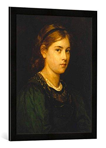Gerahmtes Bild von Franz von Defregger Mädchenbildnis, Kunstdruck im hochwertigen handgefertigten Bilder-Rahmen, 50x70 cm, Schwarz matt