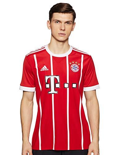 adidas FC Bayern München Home Replica Jersey 2017/18 Camiseta, Hombre, Rojo/Blanco, M