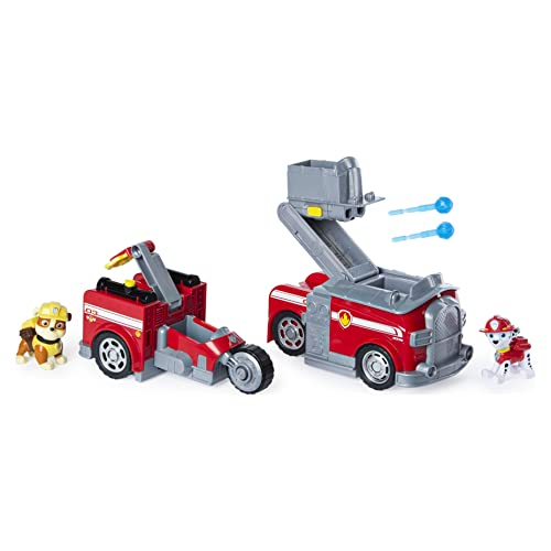 Paw Patrol, Marshall Split-Second 2-in-1 Transforming Fire Truck Vehicle with 2 Collectible Figures, Multicolor
