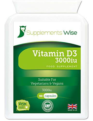Vitamin D3 High Strength - 90 x 3000iu Vegan Capsules - Immune System Support - Bones, Teeth and Muscle Maintenance - Improved Calcium Absorption- One a Day VIT D3 Supplement - 3 Months Supply