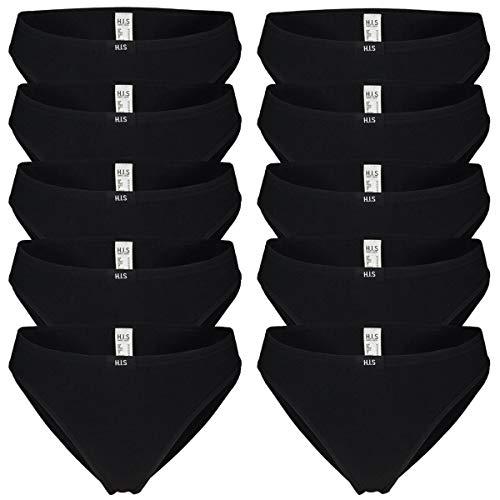 HIS Damen Slips H.I.S   auch große Größen   10 Stück (10 x schwarz, 42)