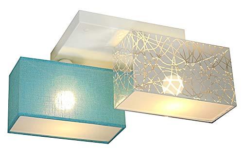 Deckenlampe - Wero Design Eris-003 G (Silber A/Türkis Transparent) - Deckenleuchte, Leuchte, 2-flammig, Metall, Stoff, LAMPENSCHIRME MIT BLENDEN