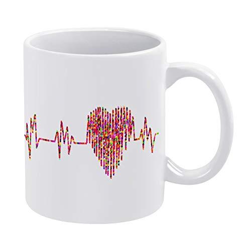 White Ceramic Mug Electrocardiogram Blood Pressure Ekg with Handle, for Gift, Coffee mug.Tea Mug, Milk Mug Office Home, made in US