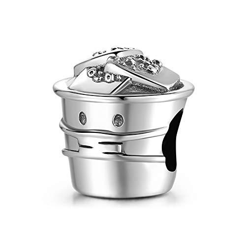 DFHTR Perles Creuses Creative 925 Argent Sterling Nourriture Traditionnelle Bracelet À Breloques en Tofu Puant Femme Fabrication De Bijoux De Luxe